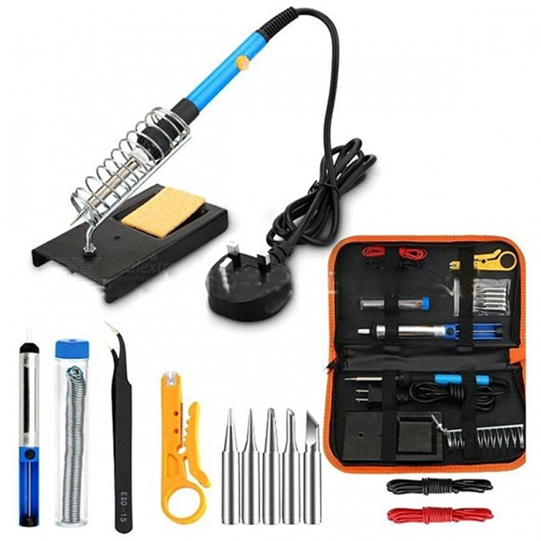 Racdde Adjustable 60W Electric Soldering Iron with 5pcs Tips, Tweezers, Cables Kit - Blue + Black
