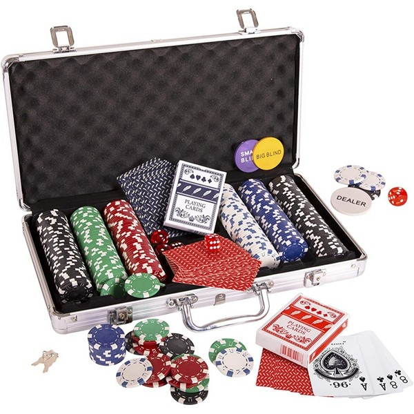 Racdde Poker Chip Set, Poker Chips (300/11.5 gr), Color Dice (5), Playing Cards (2) Aluminum Case w/Key (1), Buttons (3)