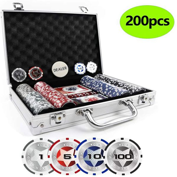 Racdde Clay Poker Chips Set Heavy Duty 13.5 Gram Chips Texas Holdem Cards Game Blackjack Gambling Chips with Aluminum Case