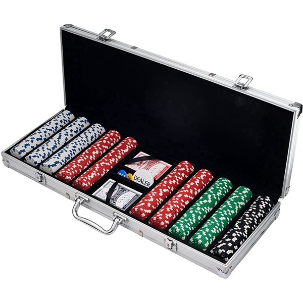 Poker Chip Set for Texas Holdem, Blackjack, Gambling with Carrying Case, Cards, Buttons and 500 Dice Style Casino Chips (11.5 Gram) by Racdde