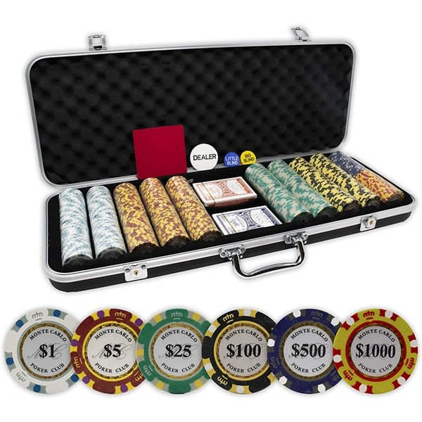 Racdde Monte Carlo Poker Club Set of 500 14 Gram 3 Tone Chips with Upgrade Ding Proof Black ABS Case, Cards, 2 Cut Cards, Dealer and Blind Buttons