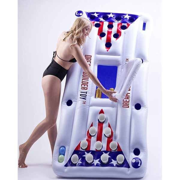 Racdde Inflatable Pool Party Barge Floating Beer Pong Float with Cooler, White, 6-Feet, - Floating Pool Party Game Raft and Lounge(Beer Pong)