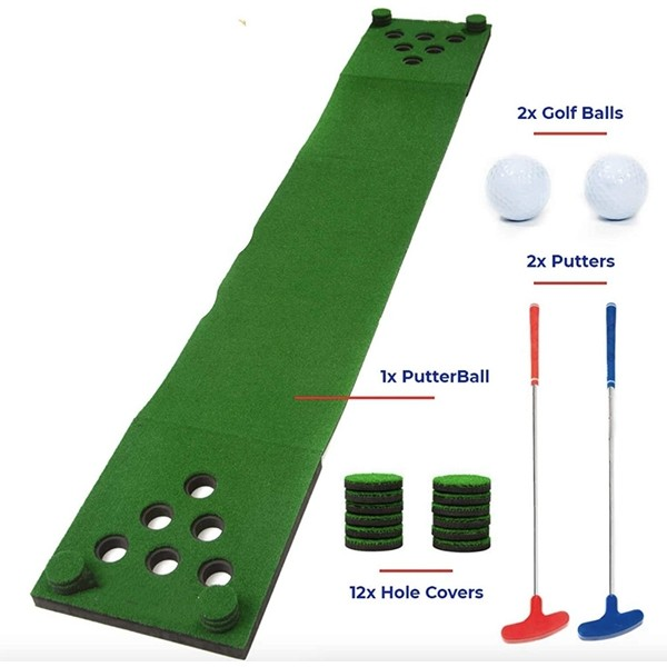 Racdde Golf Beer Pong Game Set - Includes 2 Putters, 2 Golf Balls, Green Putting Beer Pong Golf Mat & Golf Hole Covers - Best Backyard Party Golf Game Set