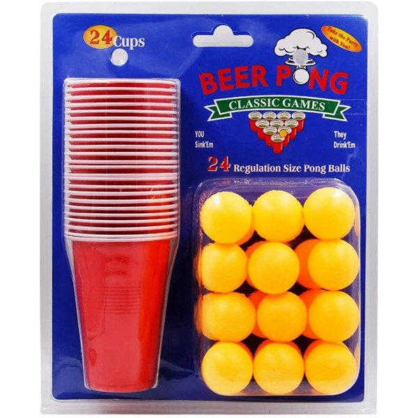 Racdde Beer Pong Cups and Balls Set, Giant Beer Pong Game Set with 24 Cups 24 Pong Balls, 16oz