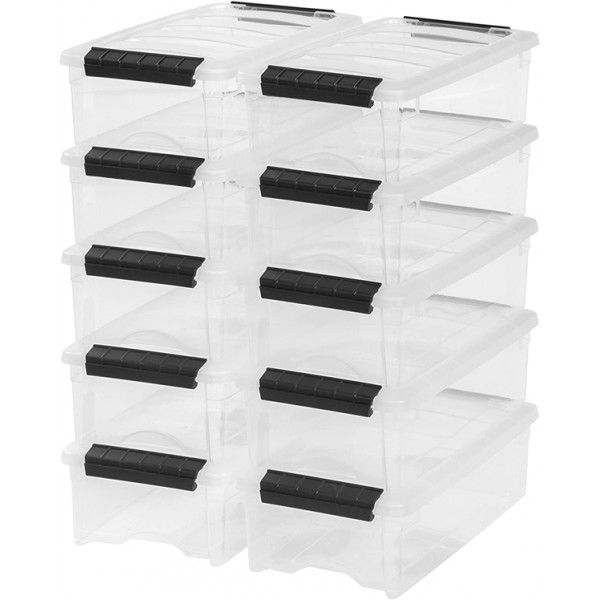 Racdde TB-35 5 Quart Stack & Pull Box, Clear, 10 Pack