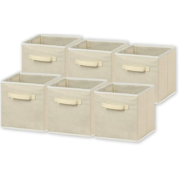 "6 Pack - Racdde Foldable Cloth Storage Cube Basket Bins Organizer, Beige (11"" H x 10.75"" W x 10.75"" D)"