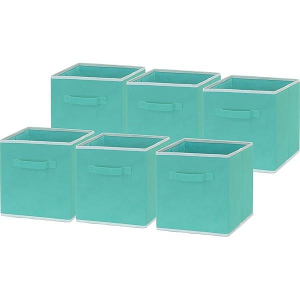 "6 Pack - Racdde Foldable Cloth Storage Cube Basket Bins Organizer, Turquoise (11"" H x 10.75"" W x 10.75"" D)"
