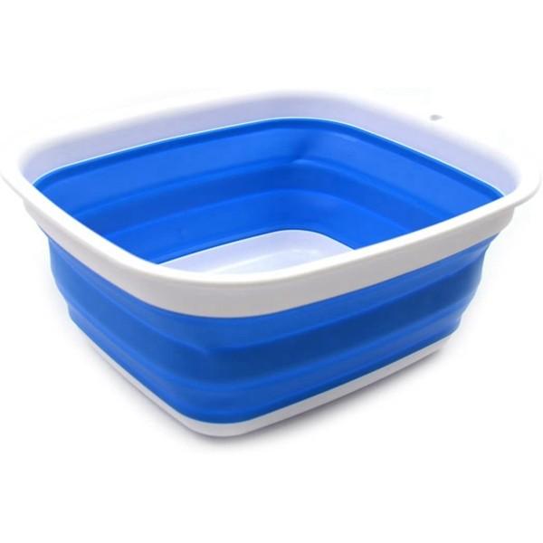 Racdde 7.7L (2 Gallon) Collapsible Tub - Foldable Dish Tub - Portable Washing Basin - Space Saving Plastic Washtub (Blue, S)
