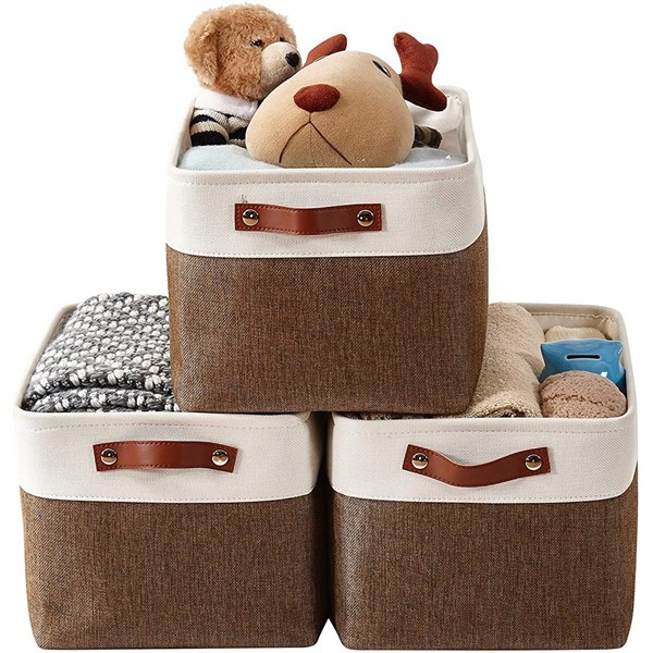 Racdde Foldable Storage Bin [3-Pack] Collapsible Sturdy Cationic Fabric Storage Basket Cube W/Handles for Organizing Shelf Nursery Home Closet & Office (Brown and White, Large - 15 x 11 x 9.5)