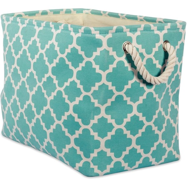Racdde Printed Polyester, Collapsible and Convenient Storage Bin to Organize Office, Bedroom, Closet, Kid's Toys, Laundry  -Small Rectangle, Aqua Lattice