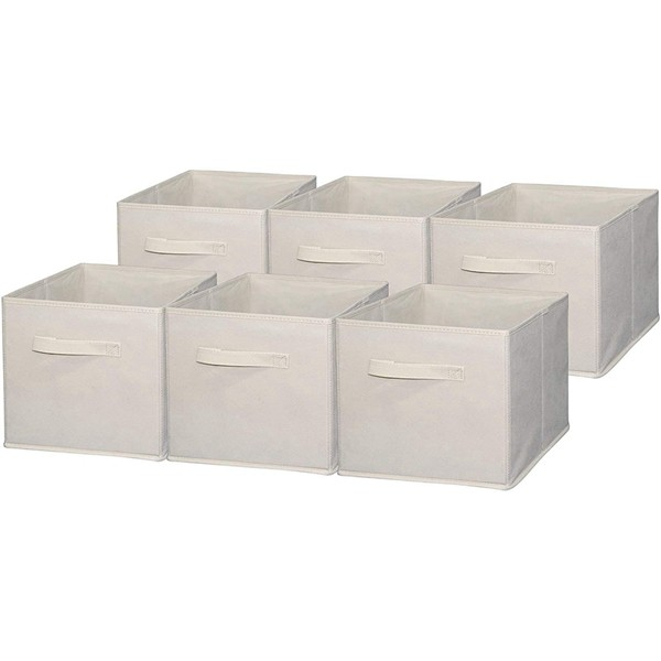 Racdde Foldable Cloth Storage Cube Basket Bins Organizer Containers Drawers, 6 Pack, Beige