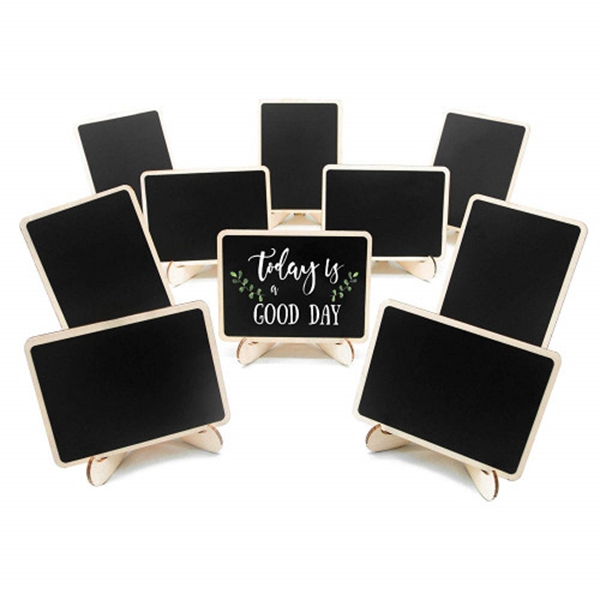 racdde 10 Pack Mini Chalkboards Signs with Easel Stand, Small Rectangle Chalkboards Blackboard, Wood Place Cards for Weddings, Birthday Parties, Message Board Signs and Event Decoration