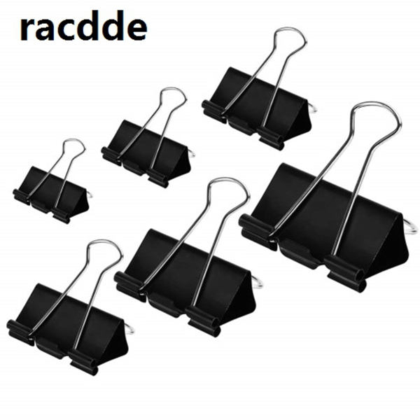racdde Binder Clips Paper Clamps Assorted Sizes 100 Count (Black), X Large, Large, Medium, Small, X Small and Micro, 6 Sizes in One Pack, Meet Your Different Using Needs