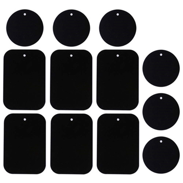 racdde Universal Metal Plate 12 Pack for Magnetic Phone Car Mount Holder Cradle with 3M Adhesive (Compatible with Magnetic Mounts) - 6 Rectangle and 6 Round, Black