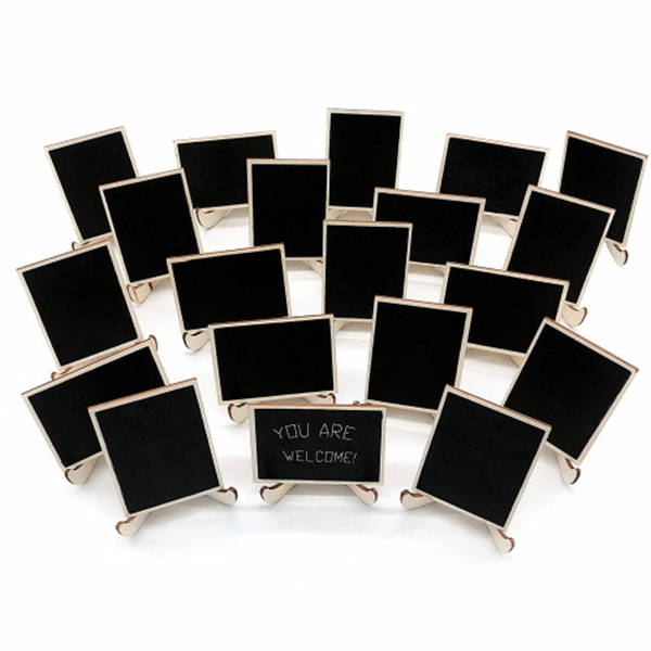 racdde 20 Pack Wood Mini Chalkboards Signs with Support Easels, Place Cards, Small Rectangle Chalkboards Blackboard for Weddings, Birthday Parties, Message Board Signs and Event Decorations
