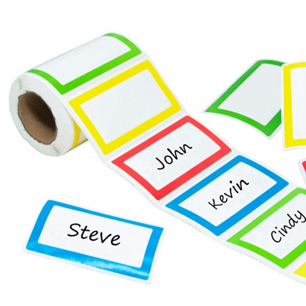 racdde Colorful Name Tag Stickers Labels 250 Pcs - Plain Border Stickers for Parties, School, Kids Clothes, Jars, Bottles (1 Roll, 3.5Inch x 2Inch - 4 Colour)