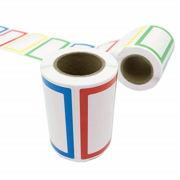 "racdde 500Pcs Colorful Name Tag Stickers Labels - Coofficer Plain Border Stickers for Parties, School, Kids Clothes, Jars, Bottles (2 Rolls, 3.5"" x 2"" - 4 Colour)"