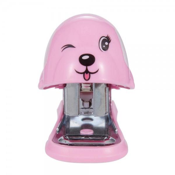 racdde Mini Stapler, Small Desktop Stapler, 12 Sheets Capacity with 640 No.10 Staples, Mini Cute Dog Design as Best Gift for Students and Children (B3094) (Pink)