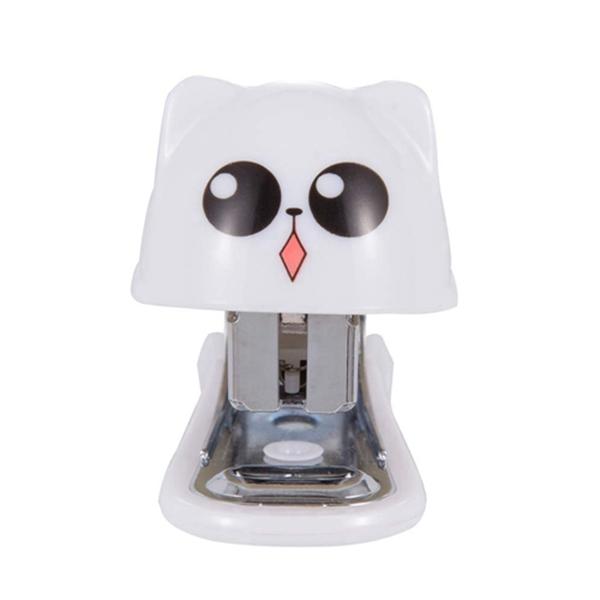 racdde Mini Stapler, Small Desktop Stapler, 8 Sheets Capacity with 640 No.10 Staples, Mini Cute Cat Design as Best Gift for Students and Children (B3093) (Blue)