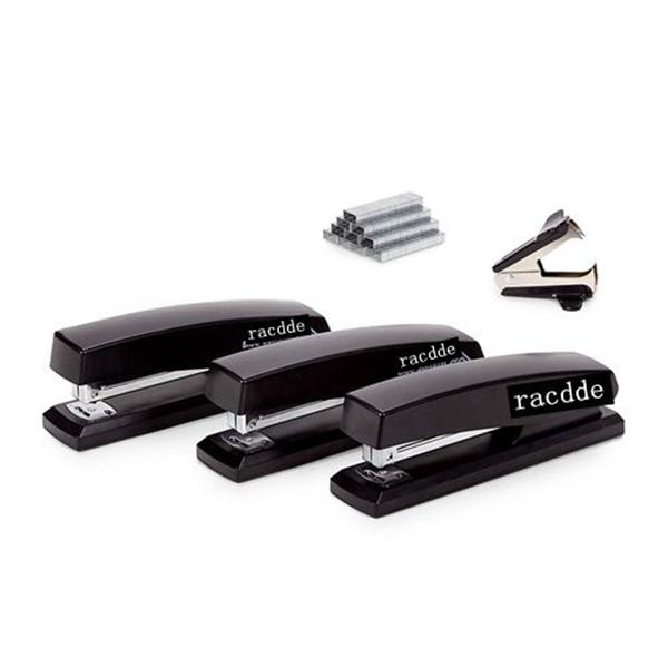 racdde Supplies Standard Stapler Set, Black Plastic 3 Pack, Full Size, Regular Desktop Staplers for Office, Home, or School Use, Includes Staple Remover and 6000 Staples
