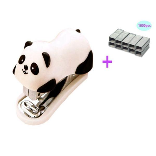 racdde Mini Cute Panda Mini Desktop Stapler with 1000 No.10 Staples for Office School Home Travel and Best Cute Gift for Friends and Children(Panda)