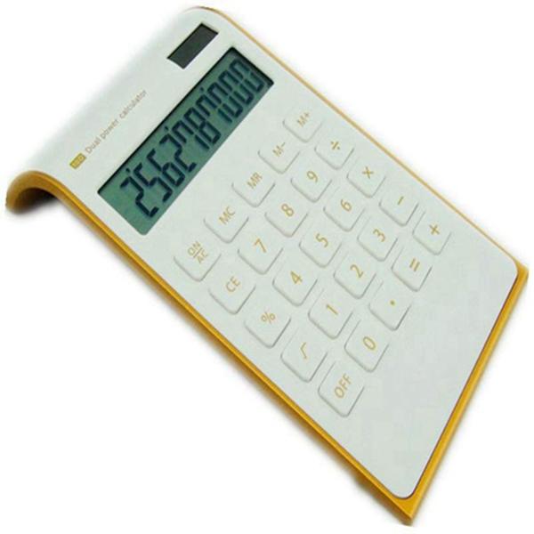 Calculator, RACDDE Slim Elegant Design, Office/Home Electronics, Dual Powered Desktop Calculator, Solar Power, 10 Digits, Tilted LCD Display, Inclined Design, White (Slim2)