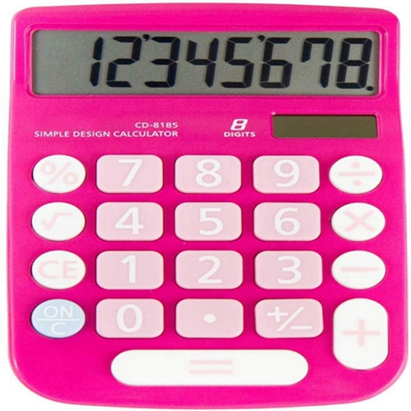 RACDDE CD-8185 Office and Home Style Calculator – 8-Digit LCD Display – Suitable for Desk and On The Move use. (Pink)