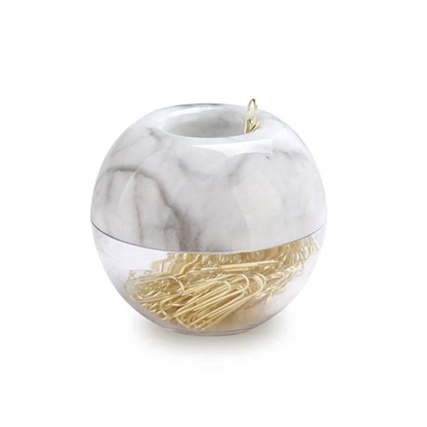 Racdde Gold Paper Clips in Elegant Magnetic Marble White Clip Holder, 28mm, 100 Clips per Box