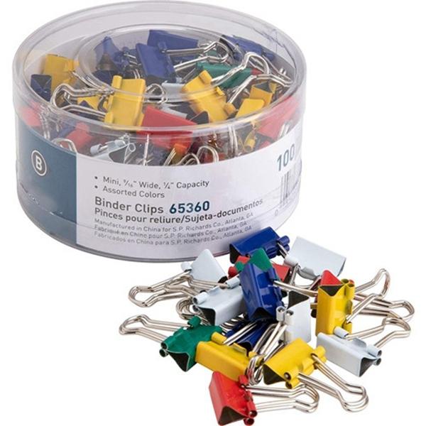 Racdde Mini Binder Clips - Pack of 100 - Assorted Colors (65360)