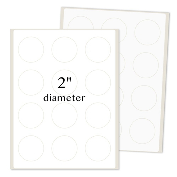 Racdde Round Labels for Laser/Inkjet Printers, Permanent Adhesive, 2 Inches Diameter, White Matte, (Pack of 1200)