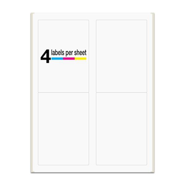 "Racdde 3-1/2"" x 5"", 4 Labels per Sheet, Laser/Inkjet Printers, Permanent Adhesive, White Matte (400 Labels/100 Sheets)"