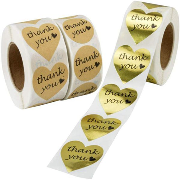 Racdde Thank You Stickers, 1000pcs Kraft Paper Thank You Adhesive Labels + 500pcs Gold Foil Decorative Sealing Sticker Labels, Heart and Round Shape, 3 Patterns