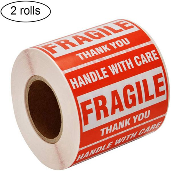"""Racdde [2 Rolls, 1000 Labels] 2"""" x 3"""" Fragile Stickers Handle with Care Warning Packing/Shipping Labels - Permanent Adhesive"""