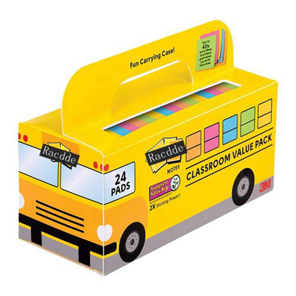 Racdde Super Sticky Notes Value Pack, 24 Pads/Pack, Convenient School Bus Carry and Storage Case, 2X The Sticking Power, 3 in. x 3 in, Bright Colors (654-24SSBUS)