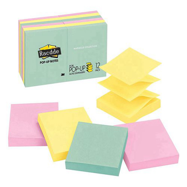 Racdde  Pop-up Notes, Green, Pink, Canary Yellow, Blues, Designed for Pop-up Note Dispensers, Great for Reminders, 3 in. x 3 in, 12 Pads/Pack, 100 Sheets/Pad (R330-12AP)