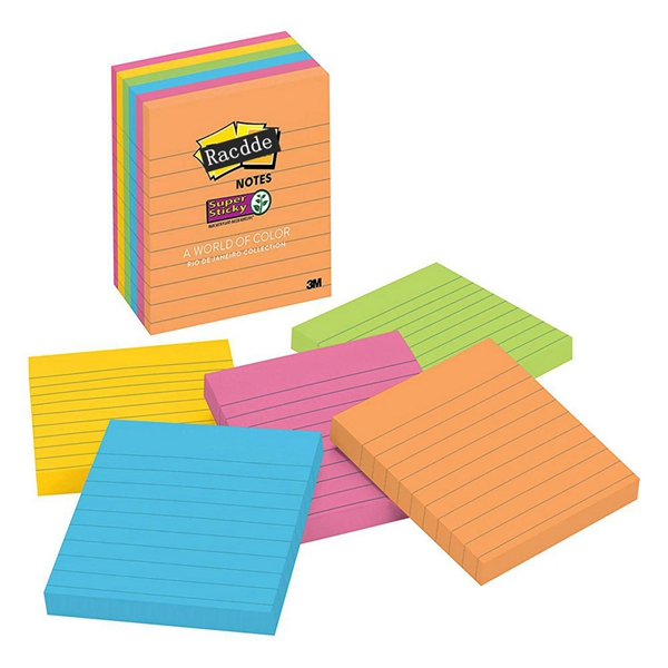 Racdde Super Sticky Notes, Rio de Janeiro Colors, Great for Reminders, 67% Plant-Based Adhesive by Weight, 4 in. x 4 in, 6 Pads/Pack, (675-6SSUC)