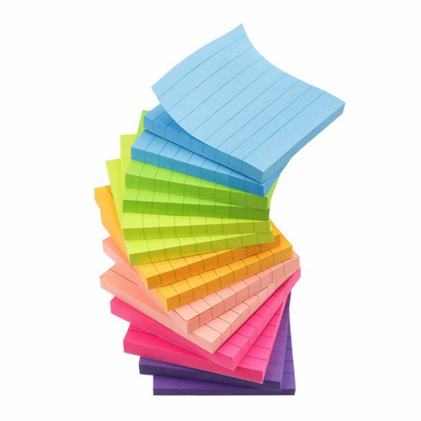 Racdde 7 Bright Color Lined Sticky Notes Self-Stick Notes 3 in x 3 in, 80 Sheets/Pad, 14 Pads/Pack