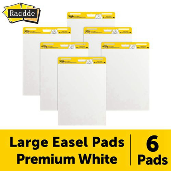 Racdde Super Sticky Easel Pad, 25 x 30 Inches, 30 Sheets/Pad, 6 Pads (559VAD6PK), Large White Premium Self Stick Flip Chart Paper, Super Sticking Power