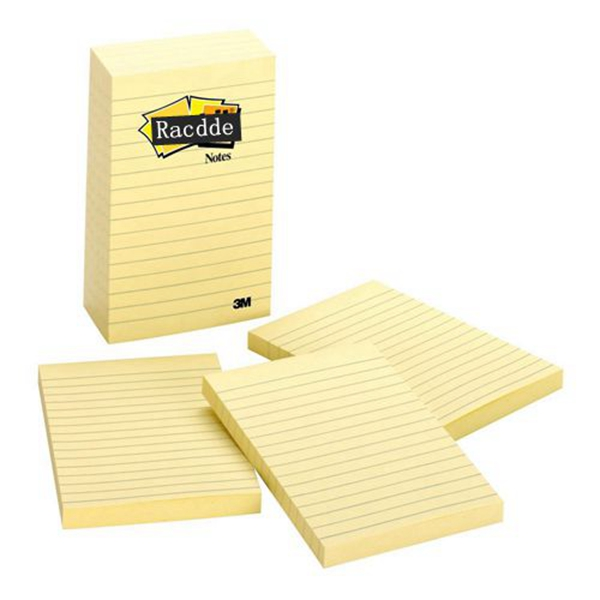 Racdde  Notes, Canary Yellow, Unique Adhesive Designed for Paper, Call out Important Information, 4 in. x 6 in, 5 Pads/Pack, 100 Sheets/Pad (660-5PK)