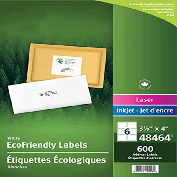 """Racdde  White EcoFriendly Mailing Labels, 3-1/3"""" x 4"""", White, Rectangle, 600 Labels, Permament (48464) Made in Canada for The Canadian Market"""