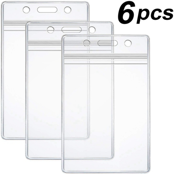 Racdde 6 Pcs Extra Thick ID Card Badge Holder, Vertical Clear PVC Card Holder with Waterproof Resealable Zip Type