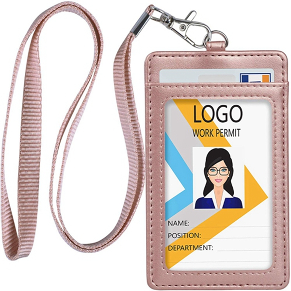 Racdde Leather ID Badge Holder, Vertical PU Leather ID Badge Holder with 1 Clear ID Window & 1 Credit Card Slot and a Detachable Neck Lanyard (Rose Gold)