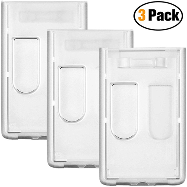 Racdde 3 Pack- Heavy Duty ID Badge Holder by Vetoo, Hard Plastic Clear Holder with Thumb Slots - Holds 2 Card