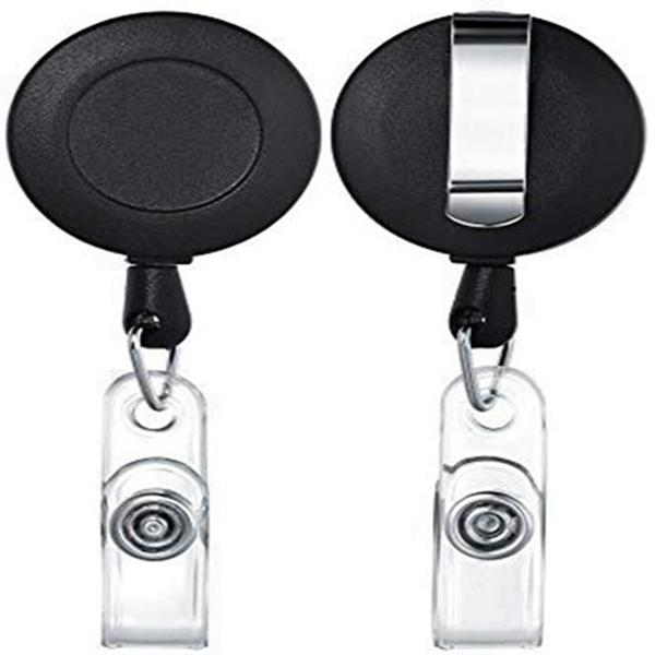 Racdde Black Matte Retractable Badge Holder ID Badge Reel Clip On Card Holders Pack of 10