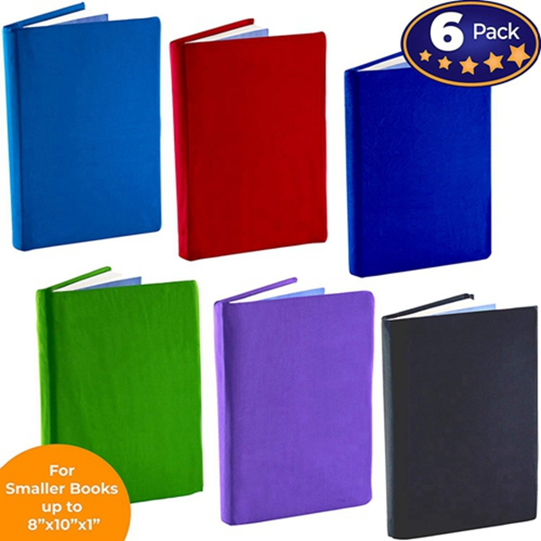 Racdde Stretchable Book Cover: Standard Size 6 Solid Color Pack. Fits Smaller/Thinner Hardcover Textbooks up to 8x10. Adhesive-Free, Nylon Fabric Protector. Washable and Reusable School Supply