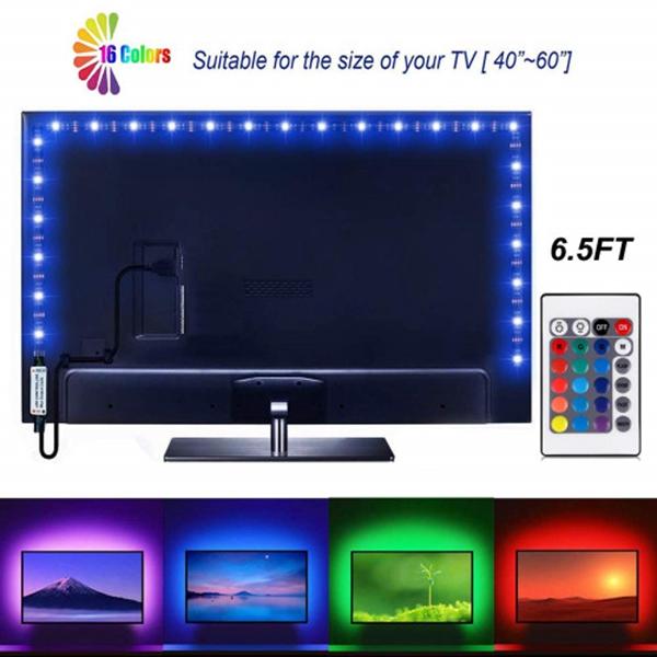 Racdde Led Strip Lights 6.56ft for 40-60in TV USB Backlight Kit with Remote, 16 Color 5050 Bias HDTV (24Key Remote)