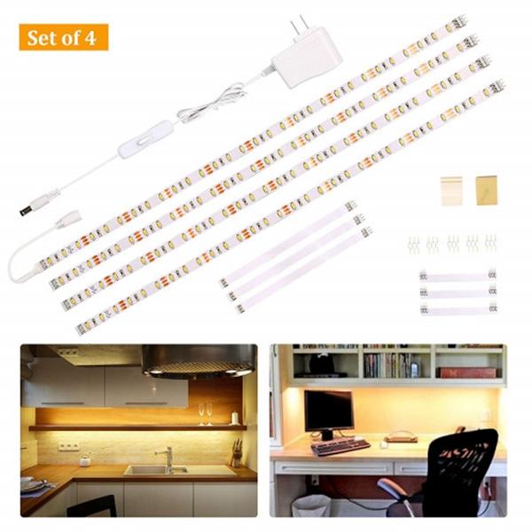 Racdde Under Cabinet Lighting Kit,Flexible LED Strip Lights Bar,Under Counter Lights for Kitchen,Cupboard,Desk,Monitor Back,Shelf,6.6 Feet Tape Light Set,UL Listed,120 LEDs,1100lm,2700K WarmWhite