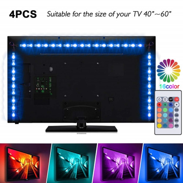 Racdde LED Strip Lights - 6.56ft/2M USB Led Light Strips for 40-60in TV, LED TV Backlight Kit with Remote - 16 Color Changing 5050 LEDs Bias Lighting for HDTV PC Monitor Home Theater Decoration