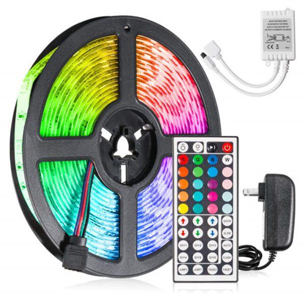 Racdde 5M 16.5ft LED Light Strip SMD 5050 RGB Waterproof with 44-Keys IR Remote Power Supply Flexible Color Changing LED Lighting Kit 150 LEDs for Home TV Backlit Bedroom Kitchen Indoor Decoration