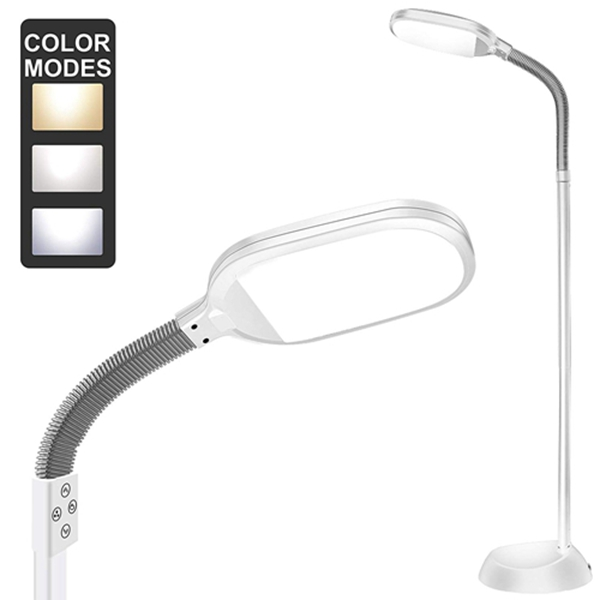 Floor Lamp, Racdde Dimmable LED Floor Light with Color Adjustable with Touch Switch - LED Floor Lamps for Living Room - Standing Lamp with Gooseneck for Sewing Bedroom - Slim Pole lamp White